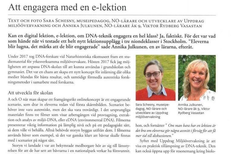 VRSV lärare skriver e-lektioner om DNA-teknik – Biologen nr 2, 2019